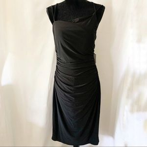 Laundry by Shelli Segal Black Ruched Midi Dress
